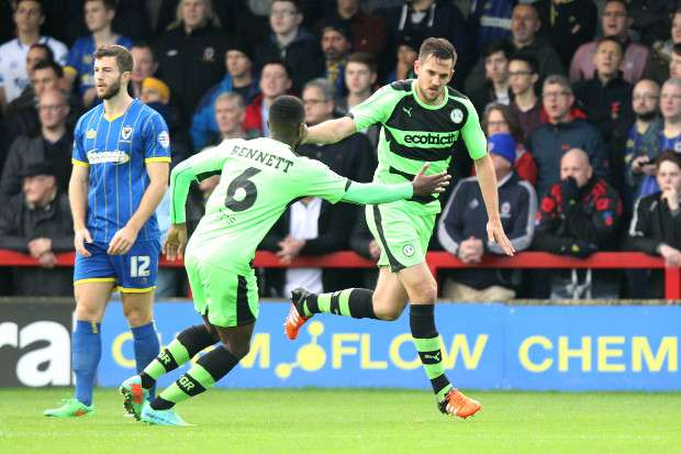 Darren Carter scores for Forest Green against AFC Wimbledon in the FA Cup