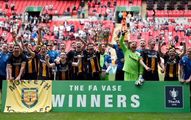 HIGH POINT: Morpeth Town lift the FA Vase